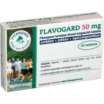 A szervezet antioxidáns védelmére szolgáló Pycnogenol tartalmú étrend-kiegészítő tabletta - Flavogard 50 mg