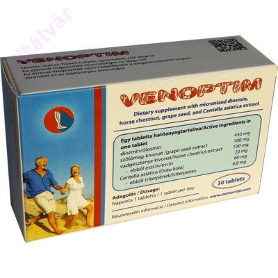 Venoptim Mikronizált diozmin, vadgesztenye, szőlőmag és Centella asiatica  kivonat tartalmú étrend-kiegészítő tabletta