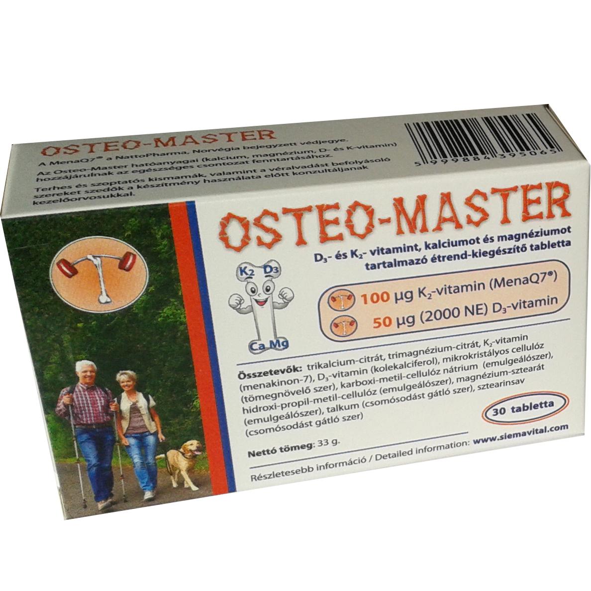 358c63fcf3 OSTEO-MASTER D3- ÉS K2- VITAMINT, KALCIUMOT ÉS MAGNÉZIUMOT TARTALMAZÓ  ÉTREND-KIEGÉSZÍTŐ TABLETTA - Összes termék - Vitálvár - Táplálékkiegészítő,  ...